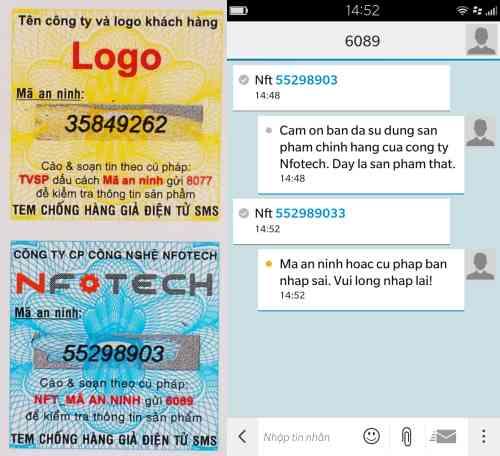 Mô tả tem chống giả điện tử SMS